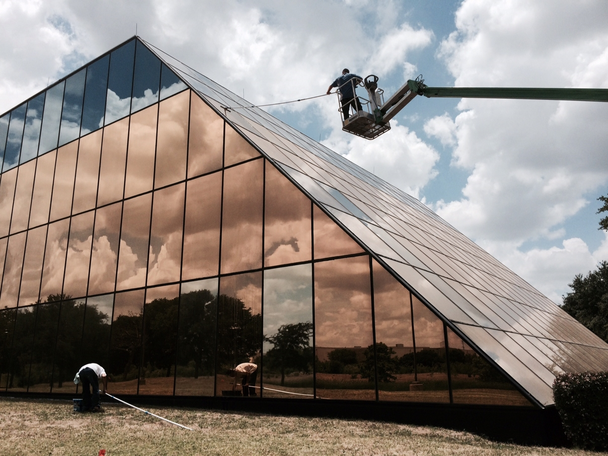 Glass Building Exterior Windows Clean Up in Dallas, Texas
